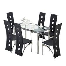 kenwell 7 piece dining table set 6 chairs glass metal kitchen room furniture