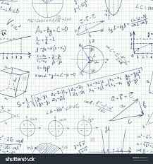 Symbols background schematic large size vector sketchy math seamless pattern doodle stock with formulas on a copybook