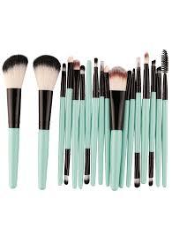 18pcs multipurpose makeup brushes set black green
