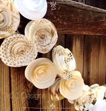 White Paper Flower Garland Paper Flower Garland Gold Garland Wedding Garland Gold Garland