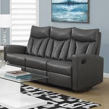 monarch specialties modern charcoal grey faux leather reclining sofa