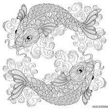 Small Picture Koi fish Chinese carps Adult antistress coloring page Black and