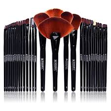 amazon shany professional brush set with leather look pouch 32 count goat badger shany beauty