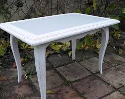 Painted In Off White Weathered Wood, Curved Legs Coffee Table