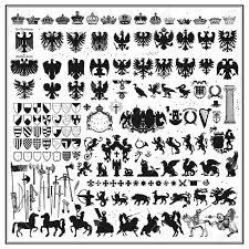 紋章デザイン要素のシルエット ロイヤリティフリークリップアート