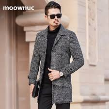 winter mens woolen coat 2018 men warm fashion jackets coats slim fit thicken mens casual plaid wool trench coat plus size m 3xl wool blends