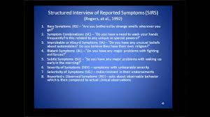 structured interview of reported symptoms sirs structured interview of reported symptoms sirs