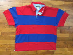 90s red blue striped color block rugby shirt size xl 7209