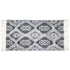 details about black grey cream monochrome bohemian boho woven cotton throw rug with tassels