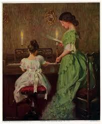 woman and child at piano piano artplaying