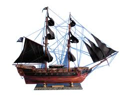 wooden caribbean pirate ship model limited 36 black sails