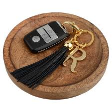 r letter leather tassel keychain bag charms richbud handmade leather craft