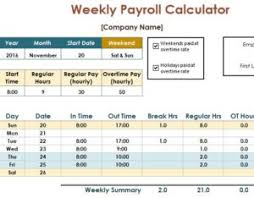 Payroll Time Calculator Payroll Calculator Template My Excel Templates