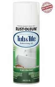 rust oleum bathtub bathroom tile refinishing enamel spray paint kit 12 oz white
