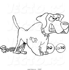 Vector of a Cartoon Guard Dog with a Dumbbell - Outlined Coloring ...