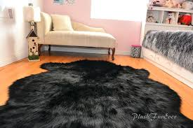 black fur rug sheepskin nursery black bear faux fur area rug baby rugs home accents small black furry