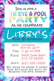 Tie Dye Birthday Party Invitation Magnolia Imc