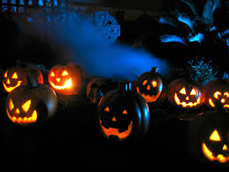 spooky lighting. View In Gallery Orange Pumpkins With Skull Cross And Blue Background Lighting Spooky