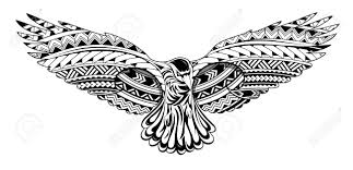 Crow Tattoo With Maori Style Ornaments