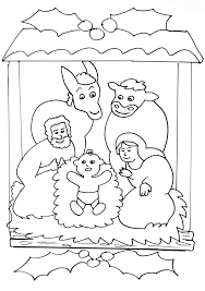 Nativity Scene Simple Coloring Page For