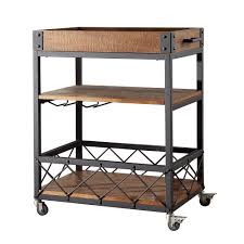 Amazon.com - TRIBECCA HOME Myra Rustic Mobile Kitchen Bar Serving Cart -  Bar & Serving Carts
