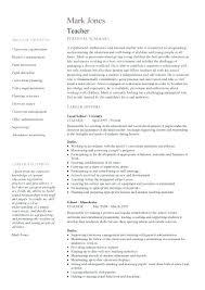 Resume Samples For Teachers Resume Examples Example Template For
