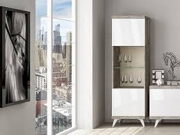 modern dining room storage. Modern Lugano Tall Display Cabinet In White High Gloss And Cement Finish With Or Without A Dining Room Storage R