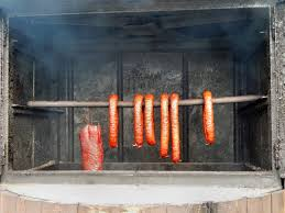 wood smoking rural food fireplace grill sausage eating hearth barbecue grill kitchen appliance outdoor grill