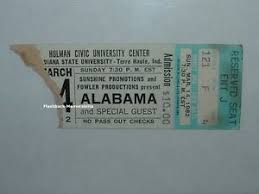 Hulman Civic Center Seating Chart Details About Alabama Concert Ticket Stub 1982 Hulman Center Isu Very Rare Terra Haute Indiana