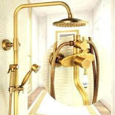 antique brass wall mounted outdoor shower faucet with bidet kit mount kits dware without the forge outdoor shower