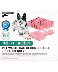 oxgord 1000 pet dog waste bags for poop removal disposal with bone dispenser and leash clip dog poop disposal a83
