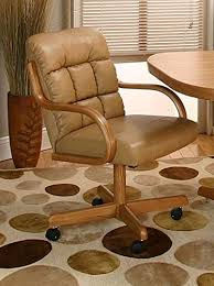 cal rolling caster dining chair with swivel tilt in oak wood with bonded leather seat and