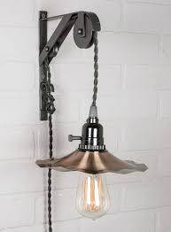 pendant light cord with pulley and copper shades
