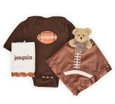 personalized football baby gift set