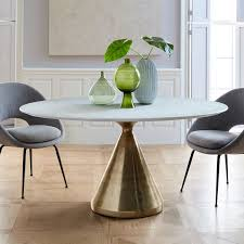 silhouette pedestal dining table oval white marble