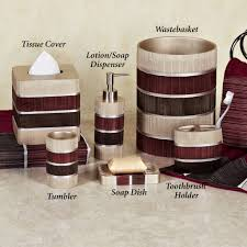 Brown Bathroom Accessories Glamorous Red Bathroom Accessories Sets With Red Brown And Cream