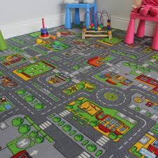 children s play village mat town city roads rug 140cm x 200cm 4ft7 x 6ft7