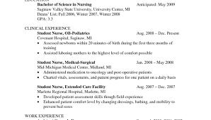 Nursing Student Resume Sample Nursing Student Resume Clinical Experience Cover Letter