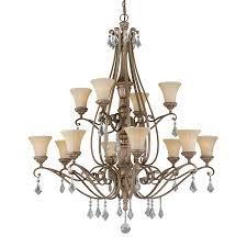 mediterranean lighting. Cascadia Lighting Avenant 45.5-in 12-Light French Bronze Mediterranean Tinted Glass Tiered Chandelier