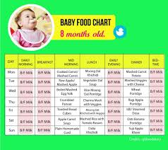 8 Month Old Feeding Chart Food Chart For An 8 Month Old Baby Tinystep