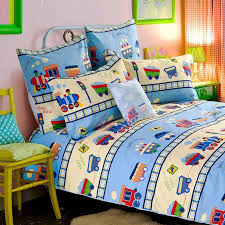 light blue beige and red traffic tool vintage train print hip hop style kids boys cartoon twin full queen size cotton bedding sets