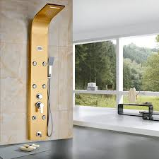 golden bathroom shower column faucet wall: luxury gold plate wall mounted bath shower column shower panel tub tap body
