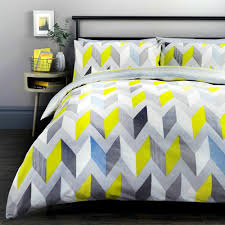 details about fusion grafix geometric zig zag striped duvet cover set in yellow grey white