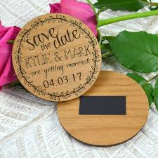 engraved wooden round save the date with magnet