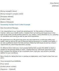 Educator Cover Letter Swimming Teacher Cover Letter Example Lettercv Com