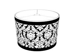 black white damask with trim lampshade