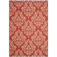 courtyard red cream 7 ft x 10 ft indoor outdoor area rug
