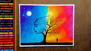 colourful romantic legendary couple with trees by oil pastel colour painting