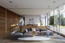 Large Living Room Wall Gray Sectional Sofa In A Large Open Floor Plan Living Room With