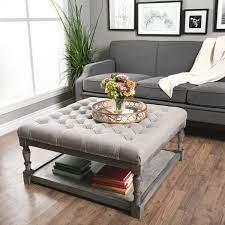 cream leather ottoman coffee table